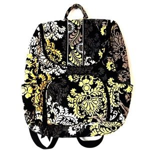 Vera Bradley Quilted Baroque Backpack Black Gray
